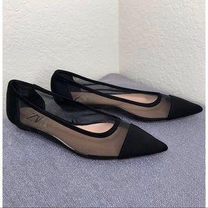 ZARA Pointed Cap Toe Ballet Flats ~Size 6.5-7